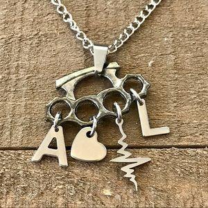 Customizable 3D Brass Knuckle Pendant Necklace